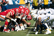 The Kansas City Chiefs offensive line is lined up at the snap of the ball opposite the Los Angeles Chargers defensive line during the 2018 regular season week 1 NFL football game against the Los Angeles Chargers on Sunday, Sept. 9, 2018 in Carson, Calif. The Chiefs won the game 38-28. (©Paul Anthony Spinelli)