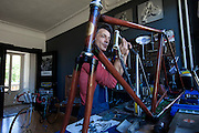 Lugano, Gianluca Zaghi, Vintage Speed Bicycles. Gianluca Zaghi&rsquo;s company, Vintage Speed Bicycles, rebuilds and restores classic racing bikes made by the great Italian, French, and Swiss frame builders of the 1950s-70s.<br /> <br /> From his workshop near Lugano, Gianluca keeps contact with a growing worldwide community of devotees of these beautiful, fascinating machines.