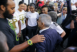 © London News Pictures. 27/06/2017. London, UK. The Mayor of London, Sadiq Khan and the Met Police Commissioner, Cressida Dick, launches a knife crime strategy at Dwaynamics Boxing Club, which will tackle the deeply concerning rise in knife crime across the capital, especially among young Londoners. Photo credit: Dinendra Haria/LNP