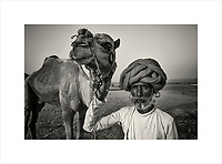 A camel herder poses with one of his animals at the annual Pushkar Camel Fair. The 14 day event is one of the largest livestock fairs in the world and a heaven for photographers.<br /> Purchase a signed and numbered limited edition fine art print of this image from www.hanskemp.com/store