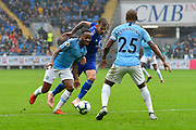 Raheem Sterling (7) of Manchester City on the attack during the Premier League match between Cardiff City and Manchester City at the Cardiff City Stadium, Cardiff, Wales on 22 September 2018.