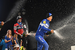 March 23, 2018 - Harelbeke, Belgique - HARELBEKE, BELGIUM - MARCH 23 : GILBERT Philippe (BEL)  of Quick - Step Floors, TERPSTRA Niki (NED)  of Quick - Step Floors, VAN AVERMAET Greg (BEL)  of BMC Racing Team pictured during the podium ceremony of  the 60th Record Bank E3 Harelbeke cycling race with start in Harelbeke and finish in Harelbeke (206 kms) on March 23, 2018 in Harelbeke, Belgium, 23/03/2018 (Credit Image: © Panoramic via ZUMA Press)