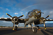 North American B-25 Mitchell in the sunset stormlight at Warbirds Over the West.