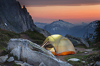 North Cascades backcountry camp on Hidden Lake Peak