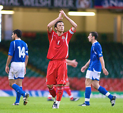 CARDIFF, WALES - Friday, September 5, 2008: Wales' captain Simon Davies applauds the fans after the 1-0 victory over Azerbaijan during the opening 2010 FIFA World Cup South Africa Qualifying Group 4 match at the Millennium Stadium. (Photo by Gareth Davies/Propaganda)
