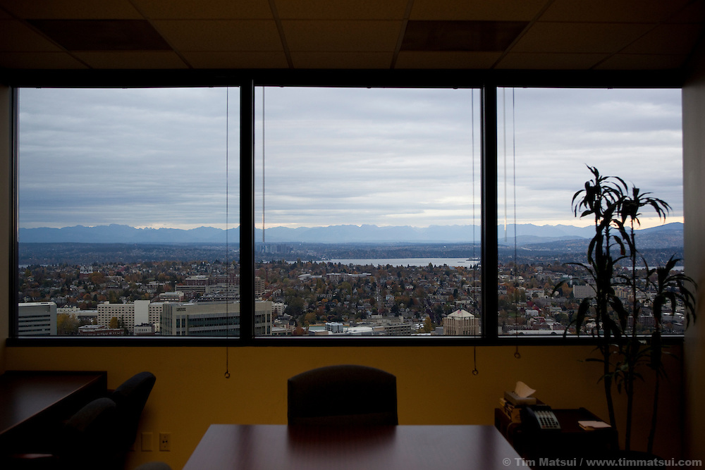 View of Seattle from an office conference room high above the city in a sky scraper.