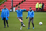 Charlie Cresswell of Leeds United Under 23's warming up before the U23 Professional Development League match between Barnsley and Leeds United at Oakwell, Barnsley, England on 9 March 2020.