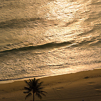 Aerial view of sunrise reflected off the ocean, Fort Lauderdale Beach, Florida