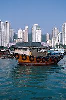 A fishing boat in the harbor at Aberdeen, Hong Kong, China.
