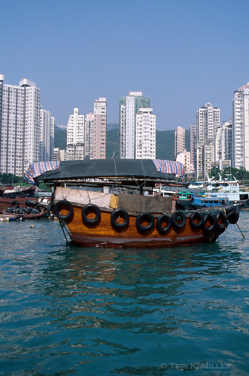 A fishing boat in the harbor at Aberdeen, Hong Kong, China.