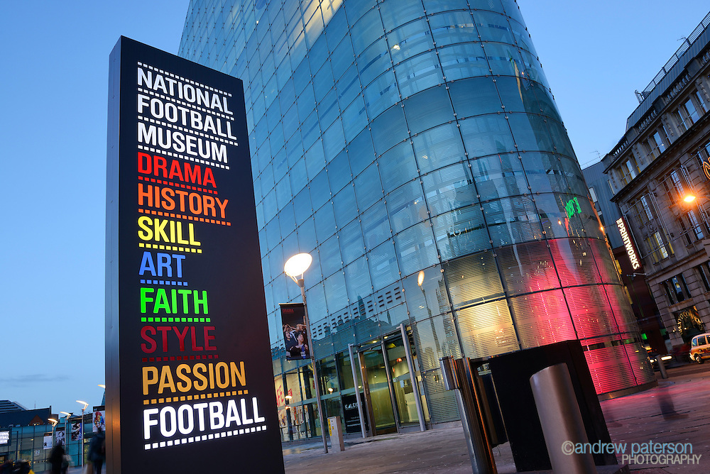 National Football Museum exterior at dusk