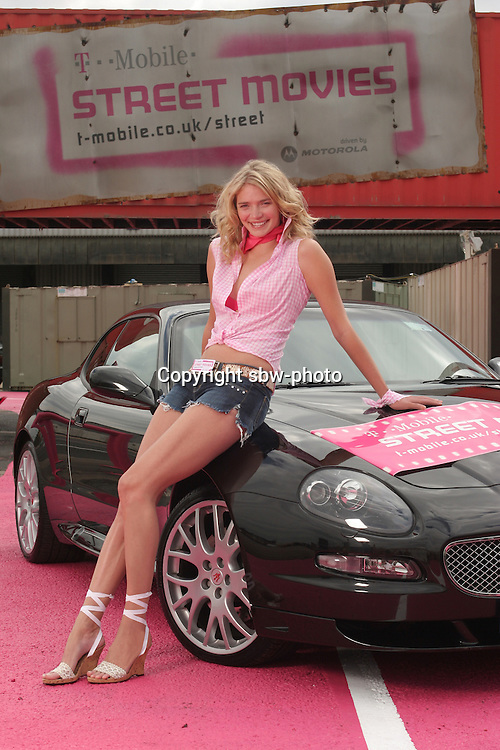 Jodie Kidd does Daisy Duke at the launch of T-Mobile Street Movies, the UK's first permanent drive-in cinema.  The drive-in is located in a disused mail depot in the heart of Birmingham and the highlight of the forthcoming programme is the Street Movies premiere of 'Dukes of Hazzard' on Tuesday 23rd August.....The Drive-in opens tomorrow with a showing of 'Shaun of the Dead.'....Simon Brooke-Webb - 07771507779