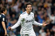 Real Madrid's Kaka celebrates goal during La Liga match.February 6,2011.