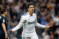 Real Madrid's Kaka celebrates goal during La Liga match.February 6,2011.