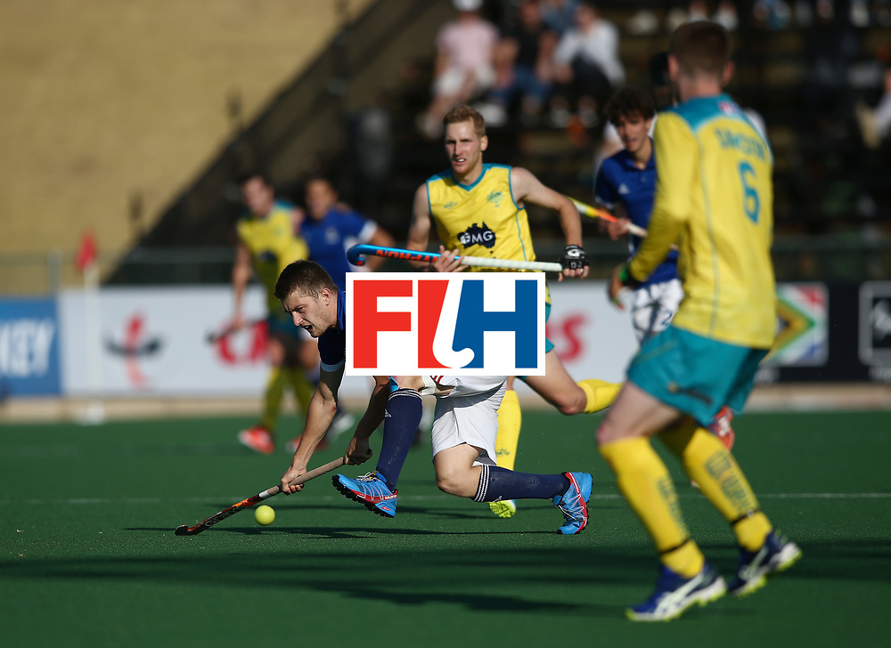 JOHANNESBURG, SOUTH AFRICA - JULY 11:  Blaise Rogeau of France attempts to control the ball during day 2 of the FIH Hockey World League Semi Finals Pool A match between Australia and France at Wits University on July 11, 2017 in Johannesburg, South Africa. (Photo by Jan Kruger/Getty Images for FIH)