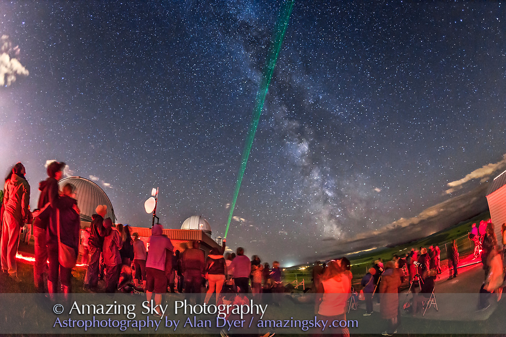 People gaze skywards at the public stargazing session, Milky Way Night, at the Rothney Astrophysical Observatory, operated by the University of Galgary. Roland conducts the laser star tour. This was August 30, 2014. Exposure was 13 - 20 seconds at f/3.2 with the 15mm lens and Canon 6D at ISO 4000.