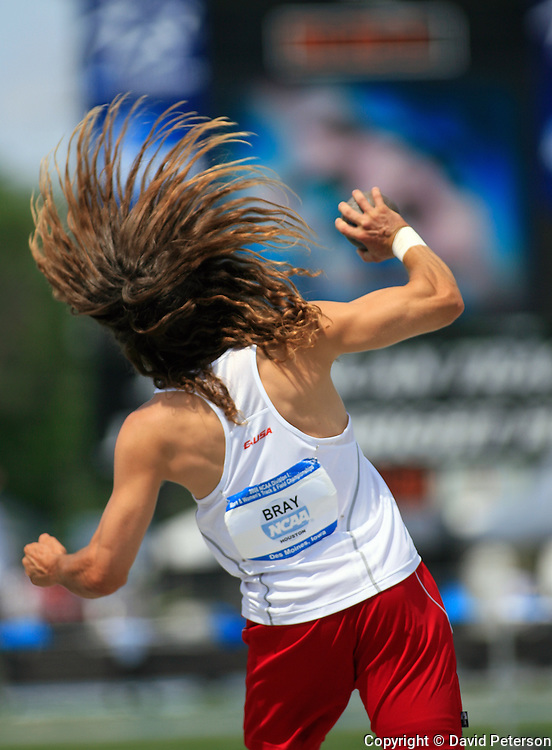 11 JUNE 2008: The University of Houston's Wesley Bray spins to deliver the shot put Wednesday at the NCAA Division 1 Men's and Women's Track & Field Championships in Des Moines, Iowa.  Bray was competing in the Men's Decathlon.  David Peterson