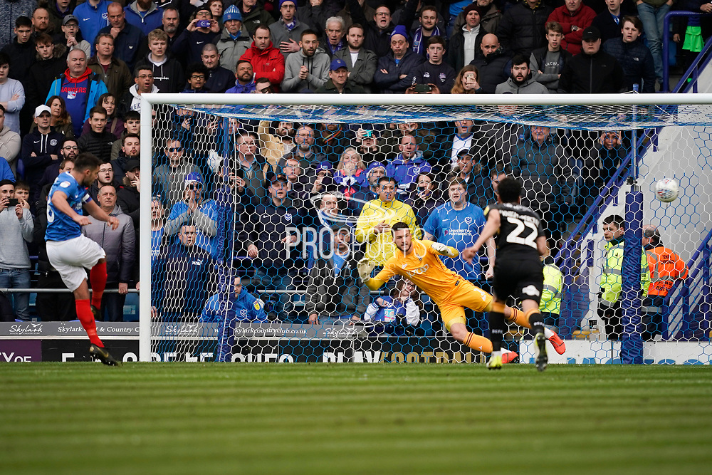 Goal, Gareth Evans of Portsmouth scores from the penalty spot, Portsmouth 1-0 Bradford City during the EFL Sky Bet League 1 match between Portsmouth and Bradford City at Fratton Park, Portsmouth, England on 2 March 2019.