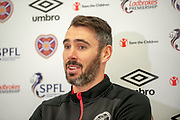 Michael Smith of Heart of Midlothian speaking to the media during the pre match press conference ahead of the visit of Livingston, at Oriam Sports Performance Centre, Riccarton, Edinburgh, Scotland on 20 September 2018.
