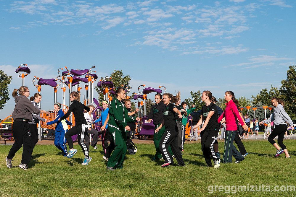 Mountain View JV team warms up during the Roger Curran Invitational at West Park in Nampa, Idaho on September 14, 2013.