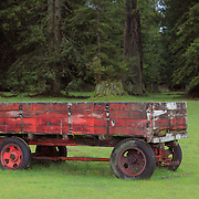 Old Red Wooden Wagon -  Hwy 101 - North Crescent City - Northern CA