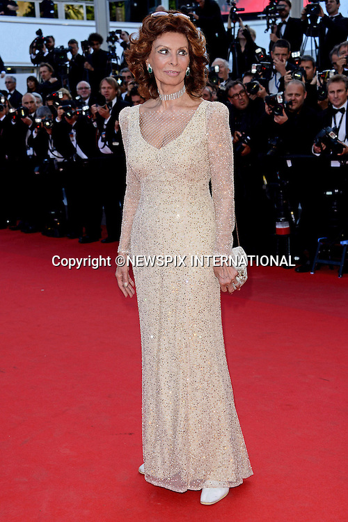 SOFIA LOREN<br /> attends the &quot;Deux Jour, Une Nuit&quot; screening at the 67th Cannes Film Festival, Cannes<br /> Mandatory Credit Photo: &copy;NEWSPIX INTERNATIONAL<br /> <br /> **ALL FEES PAYABLE TO: &quot;NEWSPIX INTERNATIONAL&quot;**<br /> <br /> IMMEDIATE CONFIRMATION OF USAGE REQUIRED:<br /> Newspix International, 31 Chinnery Hill, Bishop's Stortford, ENGLAND CM23 3PS<br /> Tel:+441279 324672  ; Fax: +441279656877<br /> Mobile:  07775681153<br /> e-mail: info@newspixinternational.co.uk