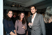 PIA STANCHINA; MARIANA MAURICIO; OSCAR HUMPHRIES, Richard Hambleton private view.- New York- Godfather of Street art presented by Vladimir Restoin Roitfeld and Andy Valmorbida in collaboration with Giorgio armani. The Old Dairy. London. 18 November 2010. -DO NOT ARCHIVE-© Copyright Photograph by Dafydd Jones. 248 Clapham Rd. London SW9 0PZ. Tel 0207 820 0771. www.dafjones.com.