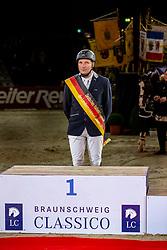 MEVES Jan (GER)<br /> Siegerehrung<br /> Preis des Handwerks und Mittelstands <br /> Finale Deutsches Hallenchampionat der Landesmeister<br /> Nat. jumping competition cl. S***<br /> Braunschweig - Classico 2020<br /> 06.03.20<br /> © www.sportfotos-lafrentz.de/Stefan Lafrentz