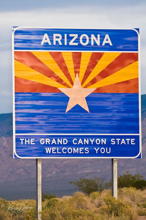 Arizona state line highway welcome sign, Arizona