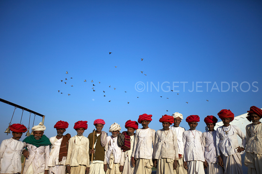 Lined up Rabari men during a Ceremony in Southern Rajahstan.<br />