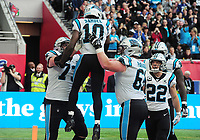 American Football - 2019 NFL Season (NFL International Series, London Games) - Tampa Bay Buccaneers vs. Carolina Panthers<br /> <br /> Curtis Samuel of the Panthers, celebrates his touch down as team mates lift him up at Tottenham Hotspur Stadium.<br /> <br /> COLORSPORT/ANDREW COWIE