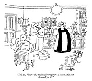 """Tell us, Vicar - the malevolent spirit - it's not...it's not coloured, is it?"" (a priest exorcises a poltergeist in a couple's living room)"