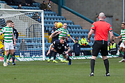 17th March 2019, Dens Park, Dundee, Scotland; Ladbrokes Premiership football, Dundee versus Celtic; Craig Curran of Dundee heads clear
