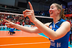 Carlijn Ghijssen-Jans #10 of Sliedrecht Sport celebrate in the cup final between Sliedrecht Sport and Laudame Financials VCN on February 16, 2020 in De Maaspoort in Den Bosch.