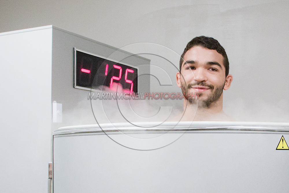 "ST. LOUIS, MO, JUNE 17, 2015: Patricio ""Pitbull"" Freire uses a cryosauna ahead of his open work-out session in advance of Bellator 138 in St. Louis, Missouri © Sara Levin"