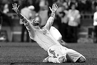 Real Madrid's Sergio Ramos celebrates the victory in the UEFA Champions League 2013/2014 Final match.May 24,2014. (ALTERPHOTOS/Acero)(EDITORS NOTE: This image has been converted to black and white)