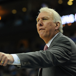 Jan 18, 2010; New Orleans, LA, USA; San Antonio Spurs head head coach Gregg Popovich reacts to a play against the New Orleans Hornets during the second half at the New Orleans Arena. The Spurs defeated the Hornets 97-90. Mandatory Credit: Derick E. Hingle-US PRESSWIRE