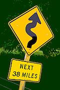 Curvy road ahead photo illustration along Highway 25, central California, America west coast