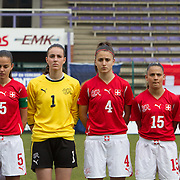 21120413 - HARELBEKE, BELGIUM : Alessa Castignetti (5), Nicole Studer (1), Francesca Calo (4), Meriame Terchoun (15), Carmen Pulver (19) from Switzerland are pictured here  during the Second qualifying round of U17 Women Championship between Switzerland and Belgium on Friday April 13th, 2012 in Harelbeke, Belgium.