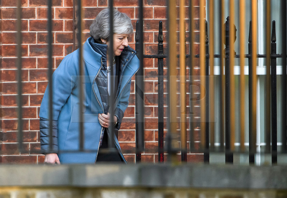 © Licensed to London News Pictures. 14/02/2019. London, UK. British Prime Minister THERESA MAY is seen leaving Downing Street to head to Parliament, on the day that MPs are due to take part in further debates and votes on Brexit. A series of amendments are being tabled to try to change the direction of Brexit, but a vote on a deal will not be held today as was originally planned. Photo credit: Ben Cawthra/LNP