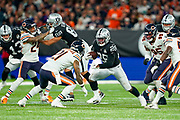 Josh Jacobs (RB) of the Oakland Raiders  in action during the International Series match between Oakland Raiders and Chicago Bears at Tottenham Hotspur Stadium, London, United Kingdom on 6 October 2019.