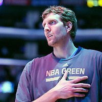 04 April 2014: Dallas Mavericks forward Dirk Nowitzki (41) is seen during the national anthem prior to the Dallas Mavericks 107-95 victory over the Los Angeles Lakers at the Staples Center, Los Angeles, California, USA.