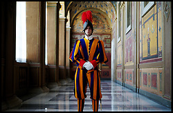 A Swiss Guard on guard inside the Vatican City, Rome, Italy, February 2012. Photo By Andrew Parsons / i-Images