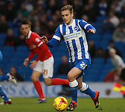 Brighton striker James Wilson on the attack during the Sky Bet Championship match between Brighton and Hove Albion and Charlton Athletic at the American Express Community Stadium, Brighton and Hove, England on 5 December 2015. Photo by Bennett Dean.