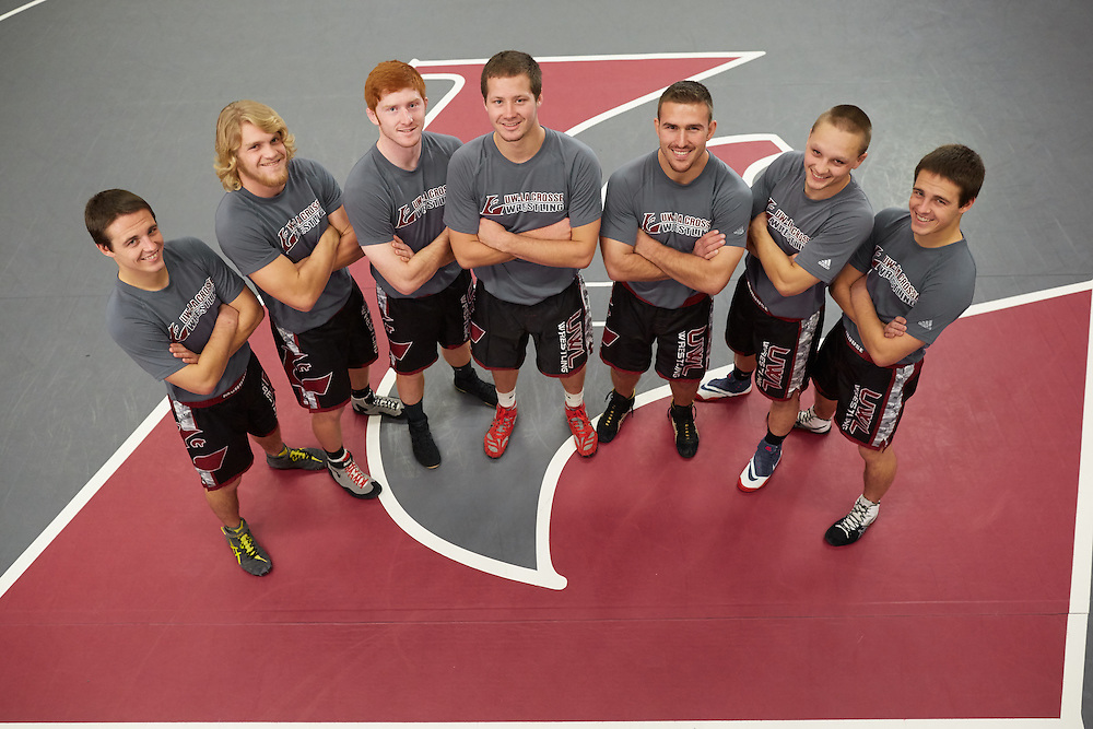Buildings; Mitchell Hall Fieldhouse; Location; Inside; People; Athlete Athletics; Type of Photography; Group; Portrait; UWL UW-L UW-La Crosse University of Wisconsin-La Crosse; 2016/17 Wresting Team