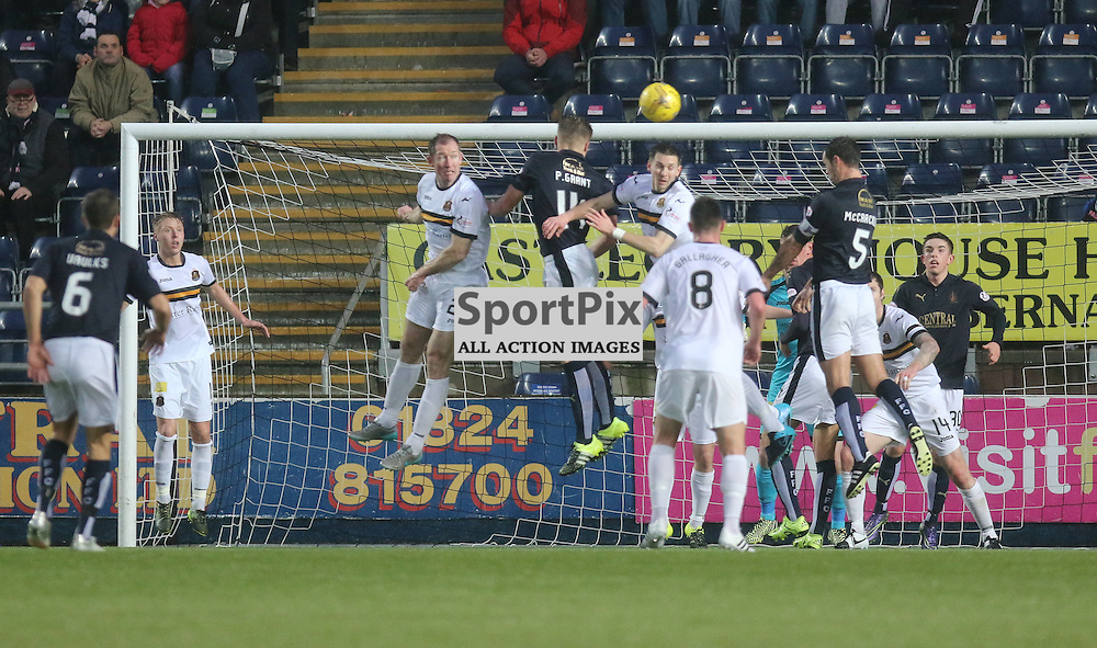 Dumbarton clear their lines during the Falkirk v Dumbarton  Scottish Championship  26  December 2015 <br /> <br /> (c) Andy Scott | SportPix.org.uk