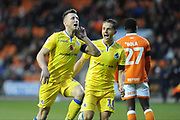 Bristol Rovers Midfielder, Ollie Clarke (8) scores to make it 0-1 goal celebration during the EFL Sky Bet League 1 match between Blackpool and Bristol Rovers at Bloomfield Road, Blackpool, England on 3 November 2018.