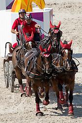 Ulrich Werner, (SUI), Cardijuweel Du Premo, Conteso, GB Rocky v Worrenberg, Ideal des Rottes<br /> Marathon Driving Competition<br /> European Championships - Aachen 2015<br /> © Hippo Foto - Leanjo de Koster<br /> 22/08/15