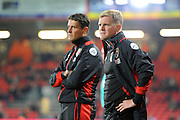 AFC Bournemouth manager Eddie Howe and his assistant Jason Tindall during the EFL Cup match between Bournemouth and Preston North End at the Vitality Stadium, Bournemouth, England on 20 September 2016. Photo by Graham Hunt.