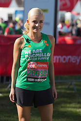 © Licensed to London News Pictures. 21/04/2013. London, England. Picture: singer Katherine Jenkins. Celebrity Runners at a photocall before the start of the Virgin London Marathon 2013 race. Many wore black ribbons to pay their respect for those who died or were injured in the Boston Marathon. Photo credit: Bettina Strenske/LNP